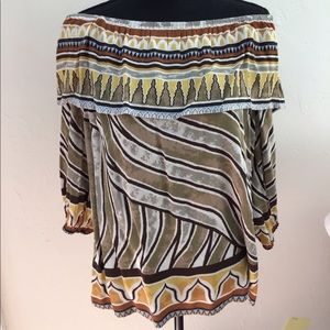 CHICOS OFF SHOULDER STRIPED TOP